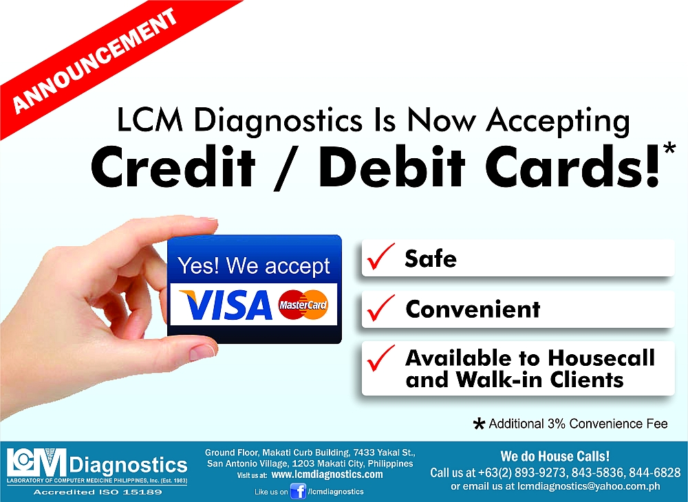 LCM Diagnostics - Is Now Accepting Credit/Debit Cards!